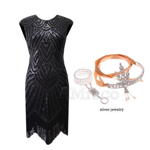 1920/'s Flapper Dress Great Gatsby Sequins Fringe Tassels Vintage Party Dresses