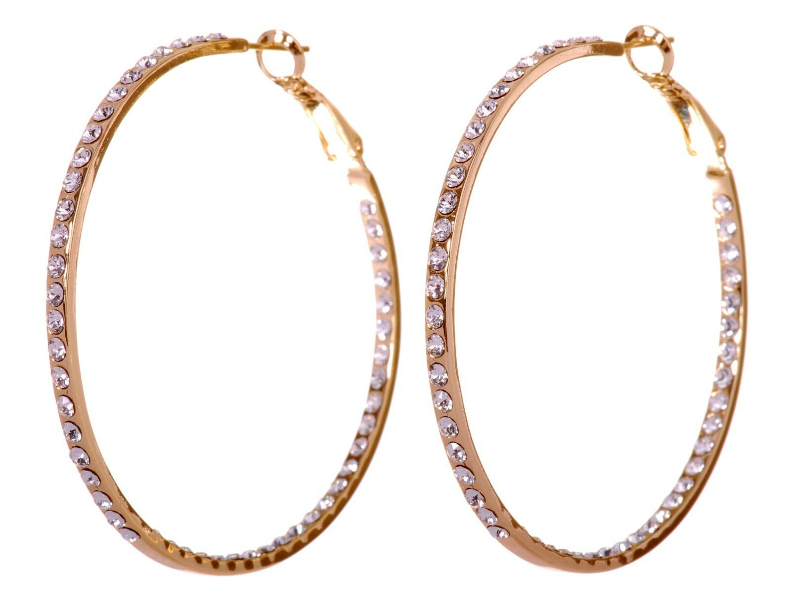 Swarovski Elements Crystal Somerset Hoop Pierced Earrings gold Authentic 7224y