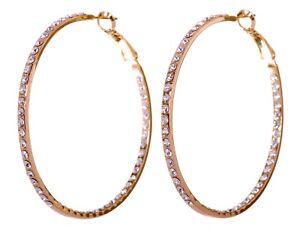 Swarovski-Elements-Crystal-Somerset-Hoop-Pierced-Earrings-Gold-Authentic-7224y