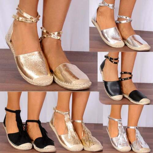 Gold Wrap Round Gold Studded Ankle Strap Espadrilles Flat Sandals Shoes Size 3-8