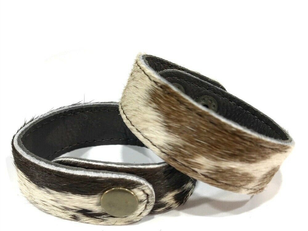 Remy Cuff - Chocolate and White Cowhide