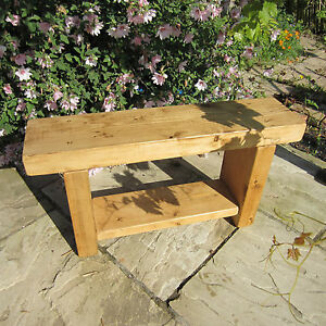 Extra-Chunky-Rustic-Pine-Solid-Wood-Bench-Handmade-Dining-Chair-Seat-with-Shelf