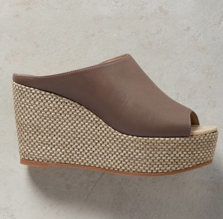 NEW NEW NEW Anthropologie Leather-Strap Wedge Sandals Heels Dimensione 40 Mules e8b05d
