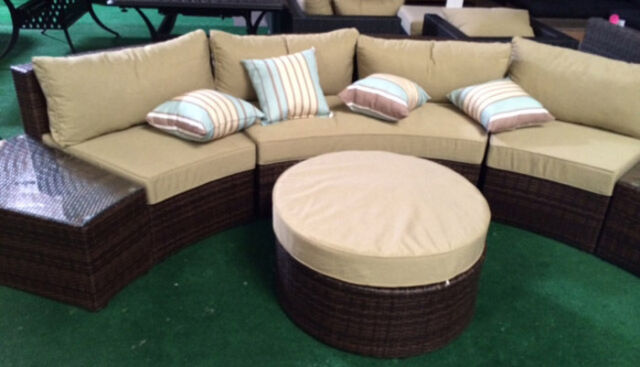 Outdoor Sofa 6 Pc Sectional Wicker Brown Las Vegas Patio Furniture And Garden