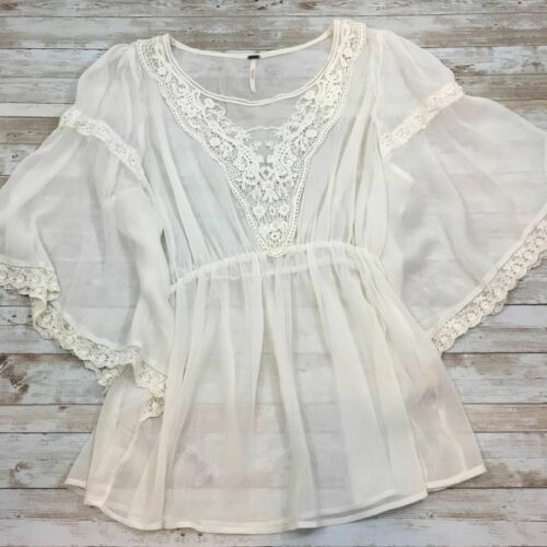 Free People Flutter Sleeve Boho Peasant Blouse L