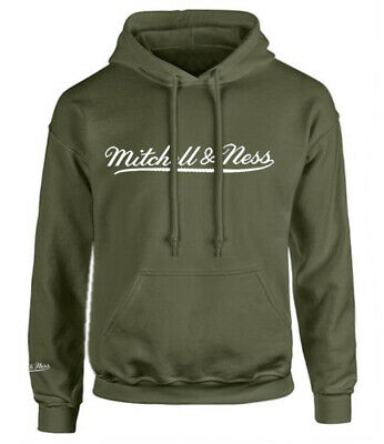 Mitchell /& Ness Script Burgundy Logo Hoodie Mens Hooded Pullover Jumper A40C