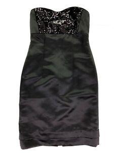Tahari arthur levine sequin strapless empire waist party dress black size 2 xs