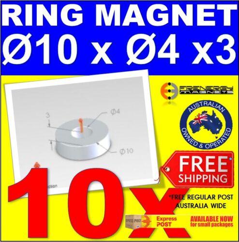 10x Ring 10mm x 3mm Hole 4mm N42Neodymium Rare Earth Magnet Disc Round Craft
