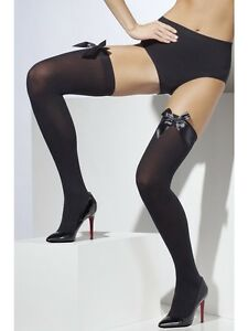 Ladies-Black-Opaque-Hold-Up-Stockings-With-Bow-Fancy-Dress