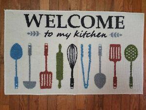 Maples Welcome To My Kitchen 20 X 34 Accent Rug Utensils Beige New Carpet Mat 10892703446 Ebay