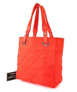 07a629abed3a Image is loading Authentic-CHANEL-Paris-Biarritz-Neon-Orange-Quilted-Nylon-