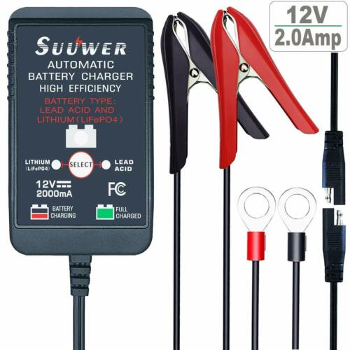 Boat Lawn Tractor, Float Mode Maintains Car 12V 2 Amp Battery Trickle Charger
