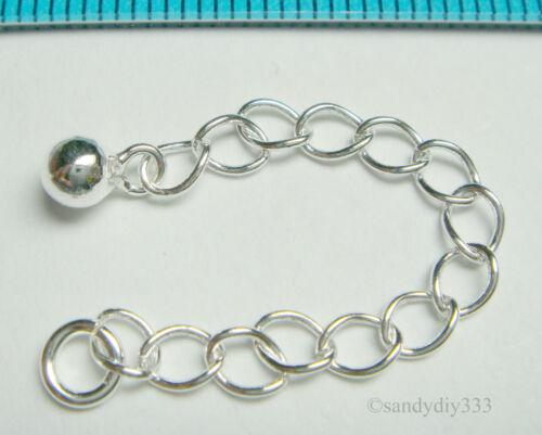"2x brillante cadena de plata esterlina Extensor W Dot Bola De 3,6 mm 2 /""n238"