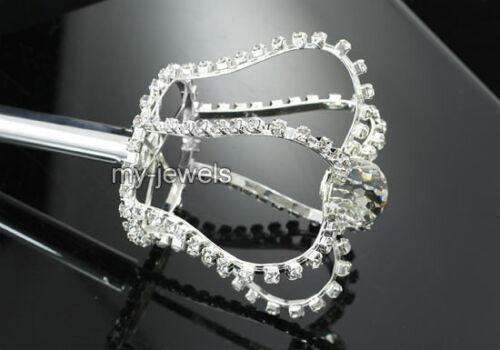 "35/"" Long Scepter Unisex King Queen Men Women Crystal Silver"
