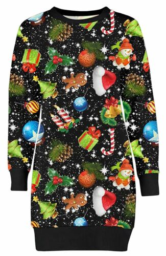 Womens Merry Christmas Snowman Penguin Gift Candy Stick Sweatshirt Jumpers Dress