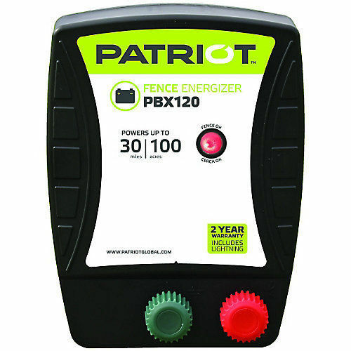 Patriot PBX120 Battery Electric Fence Charger  Energizer 1.2 J, 30 mile, 100 acre  cheap and fashion