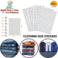 Clothing Size Sticker White Round Labels Adhesive Bold Lettering For Shirt