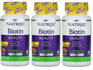 Natrol Biotin Fast Dissolve-Strawberry 5000mcg 270 Tabs Healthy Nail hair skin