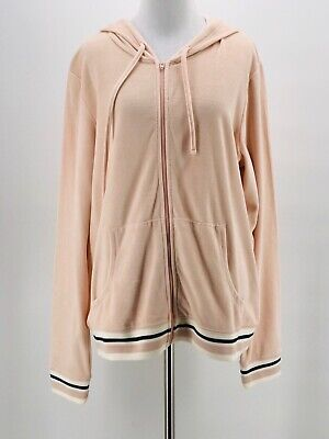 Women's Clothing Mossimo Women's Blush Pink Velour Long Sleeve Hooded Zip-up Jacket Size Xxl New Jade White Activewear