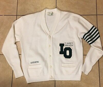 Vintage  T Barry Knicker Co. Irish Open Varsity Letterman Sweater K. Keating