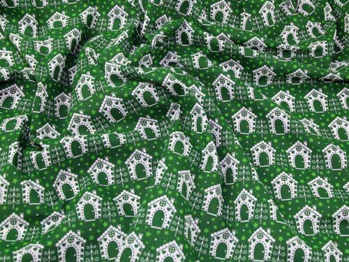 Noël maisons imprimer en polycoton robe tissu P850-Red-M