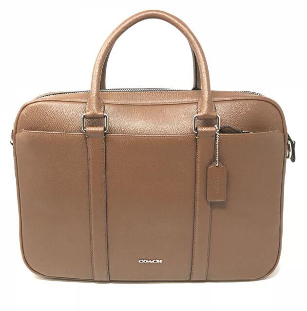 Coach Perry Slim Brief in Crossgrain Dark Saddle Leather Laptop Bag F59057