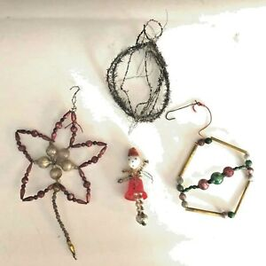 4-Vintage-Glass-Bead-Christmas-Tree-Ornaments