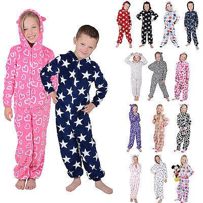 Kids Boys Girls Hooded Fleece All In One Pyjamas PJ Nightwear
