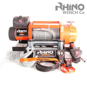 Details about 12v Electric Winch, 17500lb Electric Truck 4x4 Recovery +  Mounting Plate ~ RHINO