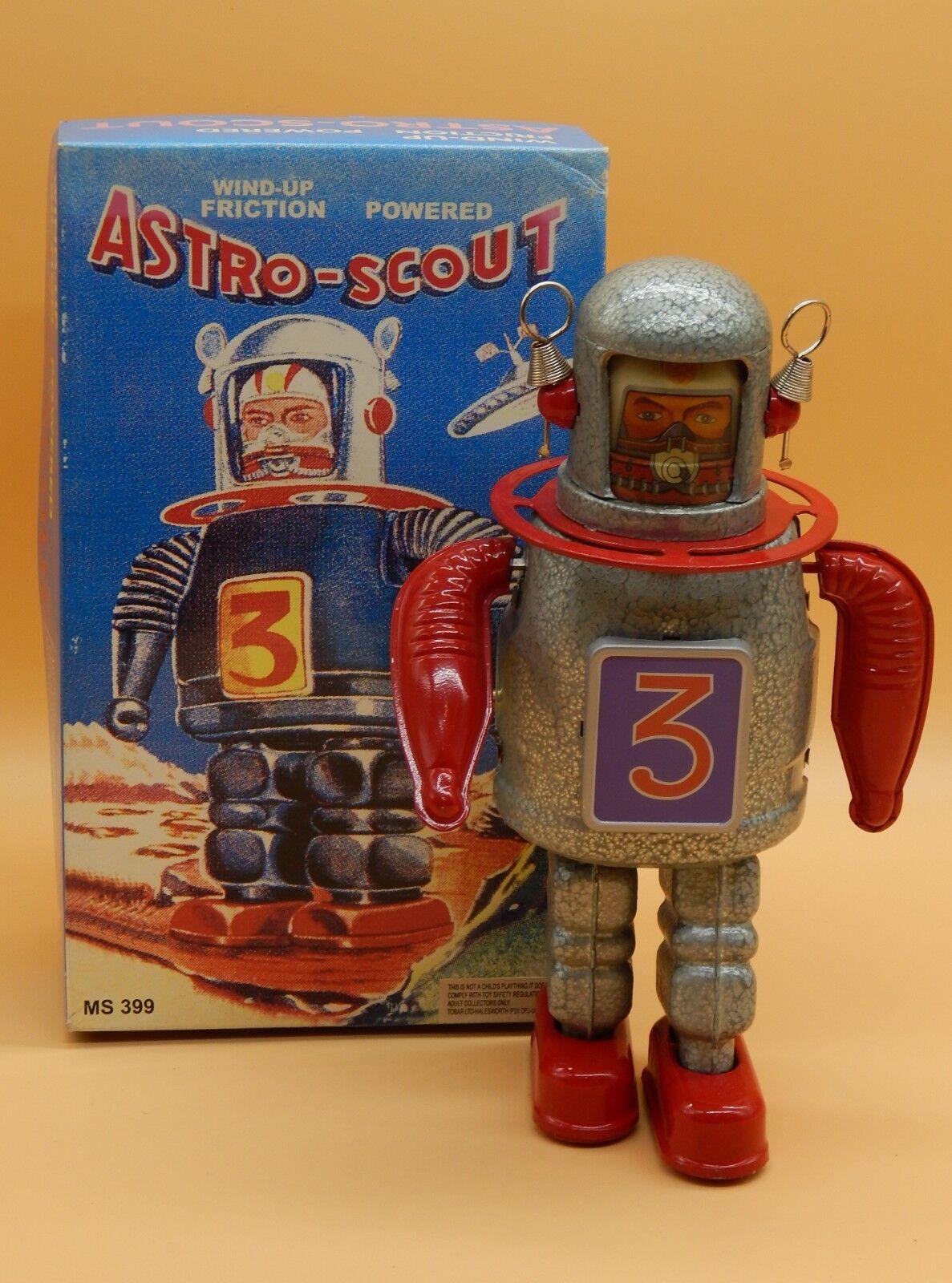 QSM reproduction ASTRO SCOUT tin tin tin giocattolo windup ROBOT friction energiaosso spaziouomo +scatola 72e0e9