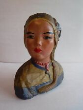 Vintage Asian Inspired Chalkware Girl Bust
