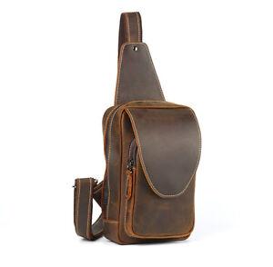 Men Oil Wax Leather Cowhide Sling Chest Bag Cross Body Messenger Shoulder Pack