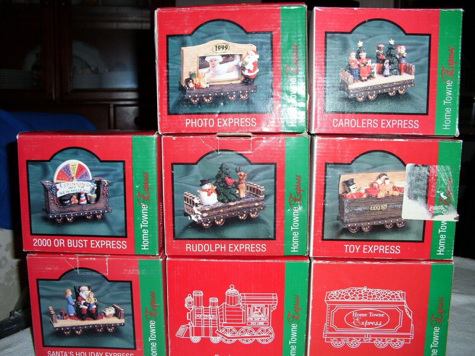JC Penney Home Towne Express Christmas Train Cars 1998 Edition 8 Cars RARE