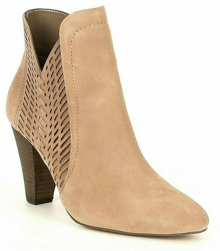 Women Vince Camuto rediena Suede Laser Cut Booties, Multi Sizes Wild Mushroom VC