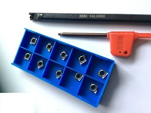 CCMT/GTCC-Drill Rod s08k SCLCR 06 with 10 x Turning Plates GTCC 0602....!!! NEW!!!