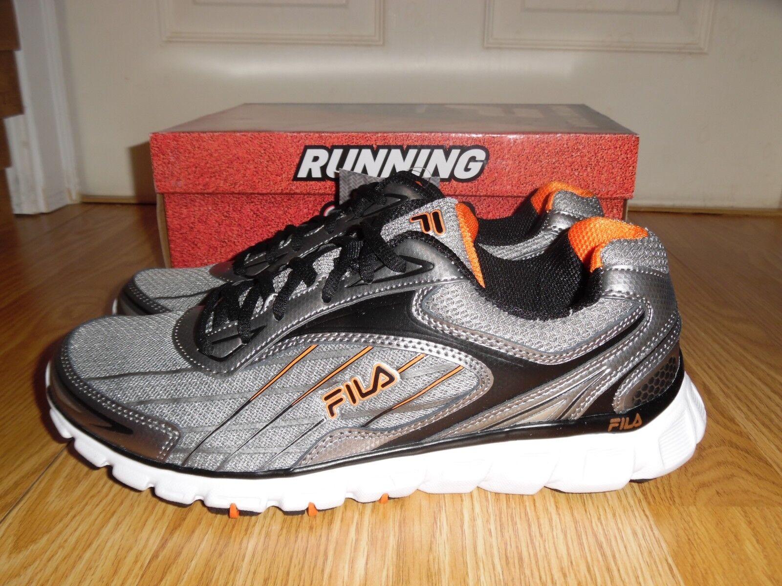 New in box Fila Memory Foam Men's size 9 Running shoes sneakers Silver orange