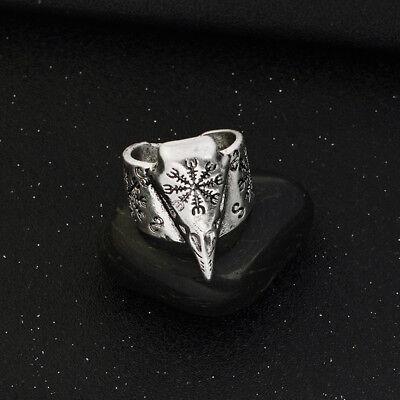 RE99 Edelstahl Ring Vegvisir mit Runen Odin Thor Wikinger Nordic Feja Viking