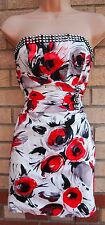 NAZZ COLLECTION WHITE RED FLORAL BEADED DIAMONTE BODYCON TUBE PARTY DRESS 10 S