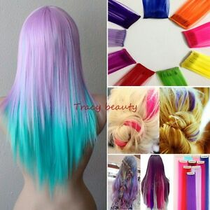 Cosplay 10 multi color long straight synthetic clip in on hair image is loading cosplay 10 multi color long straight synthetic clip pmusecretfo Images
