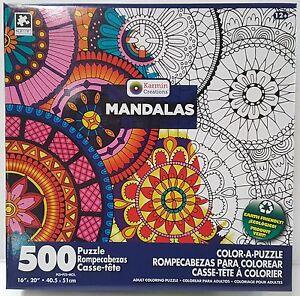 DB KARMIN® 500pc COLOR•A•PUZZLE Adult MANDALAS Coloring PUZZLE Jig Saw 500 PC