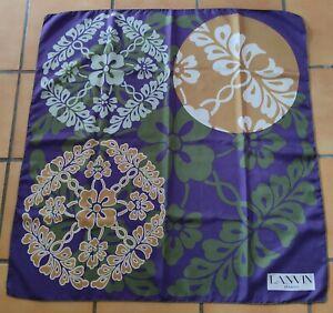 Vintage 70, T. joli foulard LANVIN en twill de soie silk scarf Fleurs