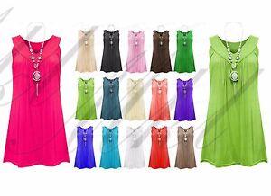 Ladies-Frill-Gypsy-Women-039-s-Sleeveless-Necklace-Tunic-V-Neck-Plus-Size-Top-Vest