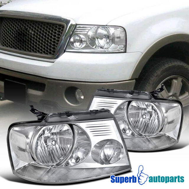 2004-2008 Ford F150 Pickup Truck Crystal Head Lights Lamps Chrome Clear