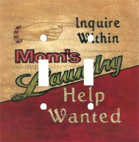 LAUNDRY ROOM MOM HELP WANTED LIGHT SWITCH PLATE COVER HOME DECOR