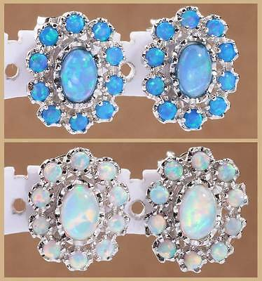 2015 ! Blue / White Opal Women Jewelry Gems Silver Stud Earrings 14mm LE121-122