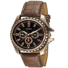 Laurels Original Copper Analog Black Dial Leather Strap Men's Watch