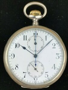 Longines-Chronograph-17-Jewels-0-900-Silver-Open-Face-Antique-Pocket-Watch