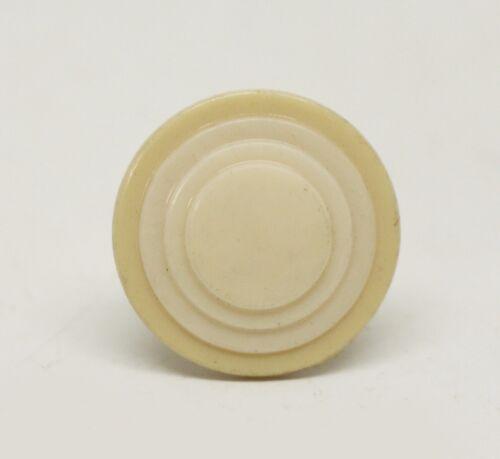 Pale Tan /& White Round Plastic Vintage Drawer Knob