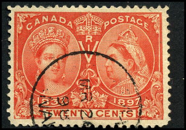 Canada #59 used F-VF 1897 Queen Victoria 20c vermilion Diamond Jubilee CDS
