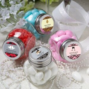 36 Personalized Glass Favor Candy Jars Wedding Party Event Shower ...